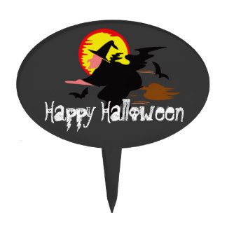 Halloween with witch on broomstick oval cake pick