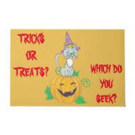 Halloween Wizard Cat on Pumpkin Doormat