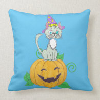 Halloween Wizard Cat on Pumpkin Throw Pillows