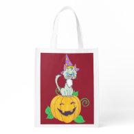 Halloween Wizard Cat on Pumpkin Reusable Grocery Bags
