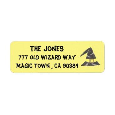 Halloween Themed Halloween wizard's hat yellow return address label