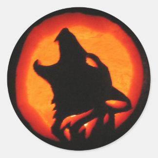 Halloween Wolf Howling Classic Round Sticker