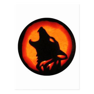 Halloween Wolf Howling Postcard