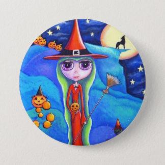 Halloween Wolf Witch Black Cat Cauldron Pumpkins Button