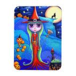 Halloween Wolf Witch Black Cat Cauldron Pumpkins Rectangular Photo Magnet
