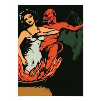 Halloween Woman and Evil Devil Card