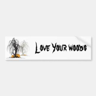 Halloween wood bumper sticker