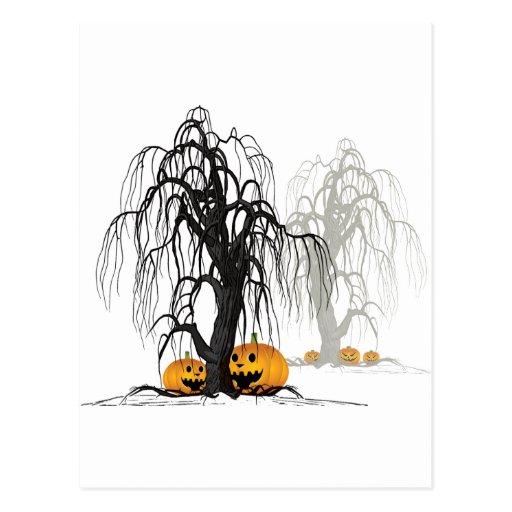 Halloween wood postcard