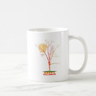 Halloween Word Tree Moon Design Classic White Coffee Mug