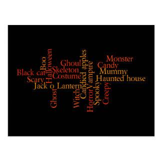 Halloween words postcard