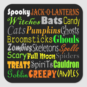 halloween words square sticker