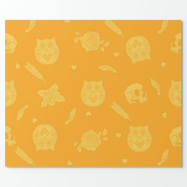 Halloween Themed Halloween wrapping paper with owl and skulls