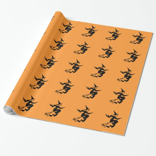 Halloween wrapping paper with witch on broom