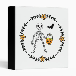 Halloween Wreath Skeleton Bucket of Candy and Bat 3 Ring Binder