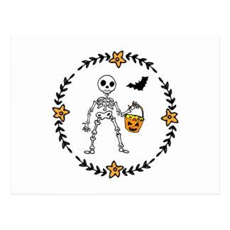 Halloween Wreath Skeleton Bucket of Candy and Bat Postcard