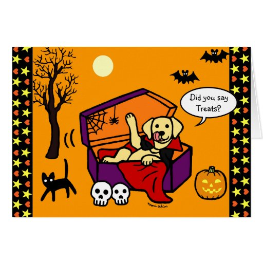 Halloween Yellow Lab Vampire Card