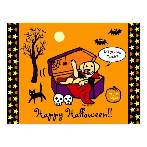Halloween Yellow Lab Vampire Postcard