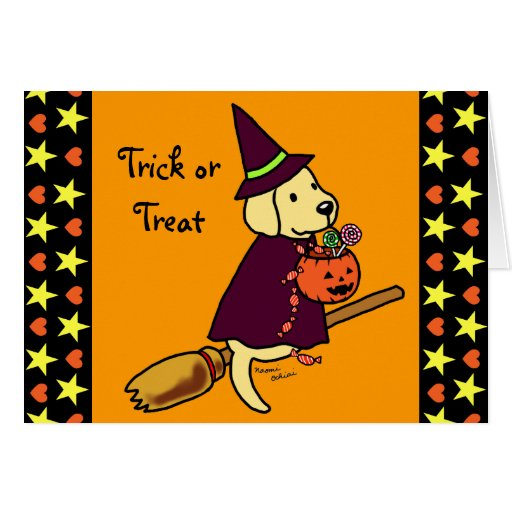 Halloween Yellow Labrador Cartoon 1 Card