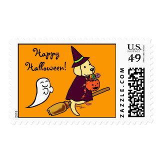 Halloween Yellow Labrador Cartoon 1 Stamp