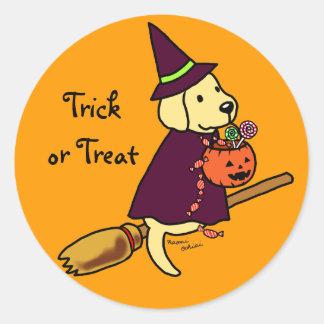 Halloween Yellow Labrador Cartoon 1 Sticker