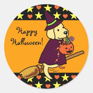 Halloween Yellow Labrador Cartoon 1 Round Sticker