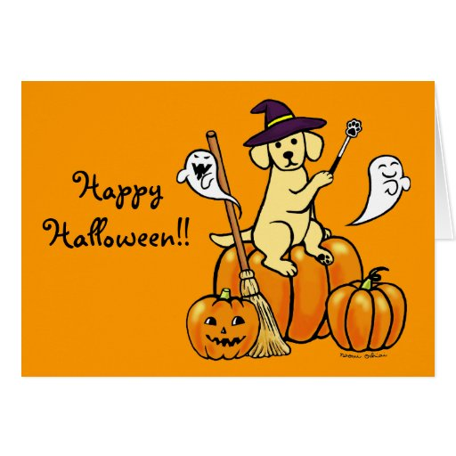 Halloween Yellow Labrador Cartoon 2 Card