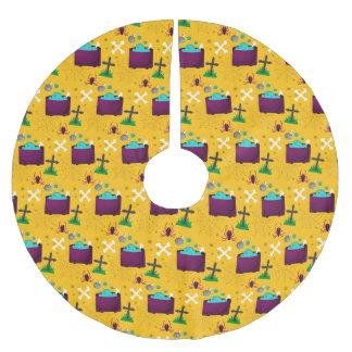 Halloween Yellow Spider Scene Brushed Polyester Tree Skirt