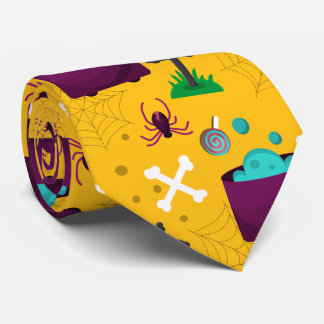 Halloween Yellow Spider Scene Neck Tie