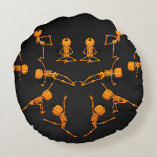 Halloween Yoga Class Round Pillow