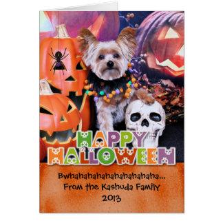 Halloween - Yorkie - Vinnie Greeting Card