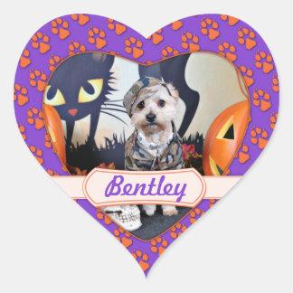Halloween - YorkiePoo - Bentley Pegatina En Forma De Corazón