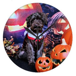 Halloween - YorkiePoo - Cooper Large Clock