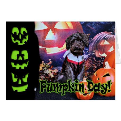 Halloween - YorkiePoo - tonelero Felicitaciones