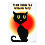 "Halloween- You're Invited Black Cat 5"" X 7"" Invitation Card"