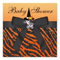 Halloween Zebra & Animal Print Baby Shower Card
