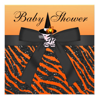 Halloween Zebra Animal Print Baby Shower Custom Invite