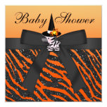 Halloween Zebra & Animal Print Baby Shower 5.25x5.25 Square Paper Invitation Card