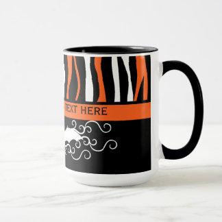 Halloween zebra pattern and bat personalized mug