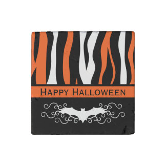 Halloween zebra pattern and vampire bat decor stone magnet