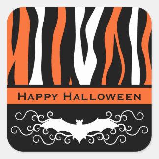 Halloween zebra pattern and vampire bat square sticker