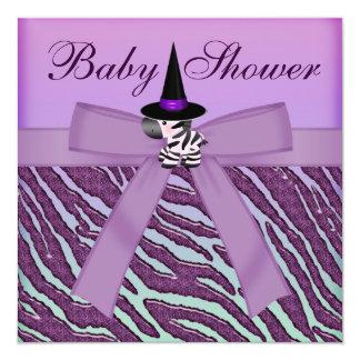 Halloween Zebra Purple Animal Print Baby Shower Custom Invitations