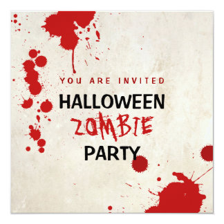 Halloween Zombie Bloodstained Vampire Party 5.25x5.25 Square Paper Invitation Card