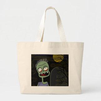 Halloween zombie - cartoon style large tote bag
