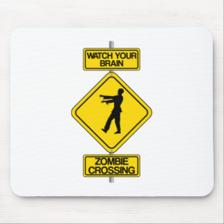 Halloween Zombie Crossing Sign Mousepad