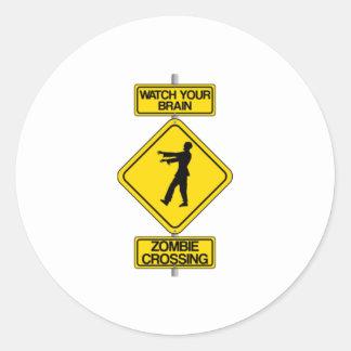 Halloween Zombie Crossing Sign Stickers