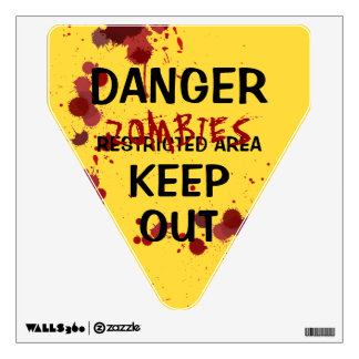 Halloween Zombie Danger Bloodstained Funny Sign Wall Sticker