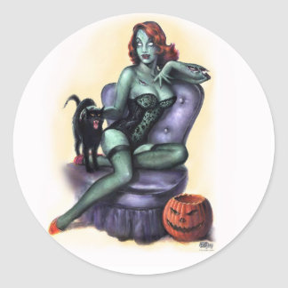 Halloween Zombie Girl Pin Up Classic Round Sticker