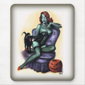 Halloween Zombie Girl Pin Up Mouse Pad