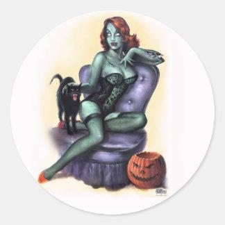 Halloween Zombie Girl Pin Up Classic Round Sticker