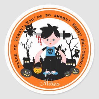 Halloween zombie kid goes trick or treating classic round sticker